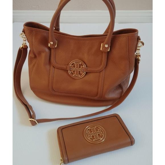 Tory Burch Handbags - Tory Burch Set Amanda Satchel & Wallet Royal Tan